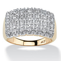 1/5 TCW Pave Diamond Cluster Ring in Solid 10k Yellow Gold