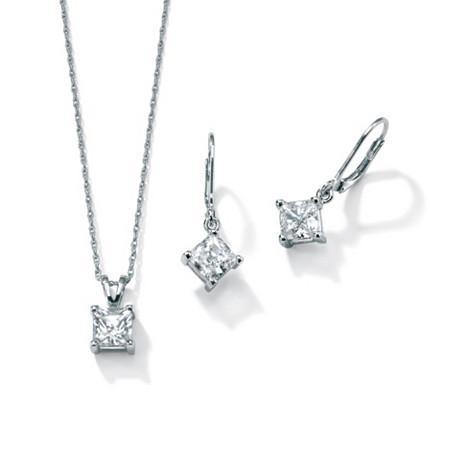 3.60 TCW Princess-Cut Two-Piece Cubic Zirconia Jewelry Set in Platinum over Sterling Silver at PalmBeach Jewelry