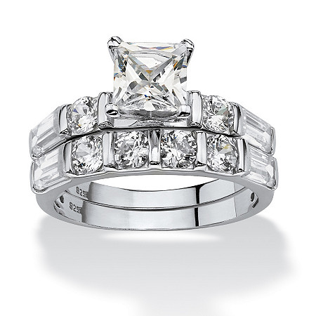 2 Piece 3.46 TCW Princess-Cut Cubic Zirconia Bridal Ring Set in Platinum over Sterling Silver at PalmBeach Jewelry