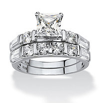 SETA JEWELRY 2 Piece 3.46 TCW Princess-Cut Cubic Zirconia Bridal Ring Set in Platinum over Sterling Silver
