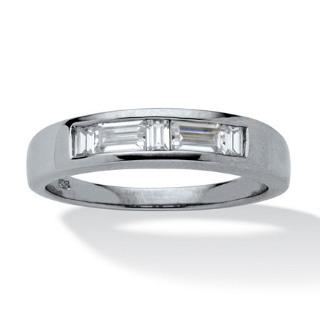 1 TCW Baguette-Cut Cubic Zirconia Wedding Ring in Platinum over Sterling Silver Sizes 8-16 at PalmBeach Jewelry