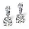 Related Item 6.18 TCW Round Cubic Zirconia Clip-On Drop Earrings in Platinum over .925 Sterling Silver