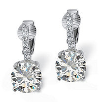SETA JEWELRY 6.18 TCW Round Cubic Zirconia Clip-On Drop Earrings in Platinum over .925 Sterling Silver