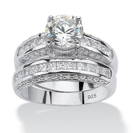 2 Piece 3.20 TCW Round Cubic Zirconia Bridal Ring Set in Platinum over Sterling Silver at PalmBeach Jewelry