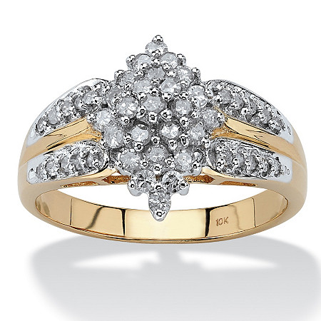 1/2 TCW Diamond 10k Yellow Gold Marquise Split-Shank Cluster Ring at PalmBeach Jewelry