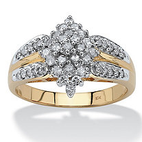 1/2 TCW Diamond 10k Yellow Gold Marquise Split-Shank Cluster Ring