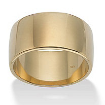 Polished Wedding Band in 18k Gold over .925 Sterling Silver (11.5mm) Sizes 5-16