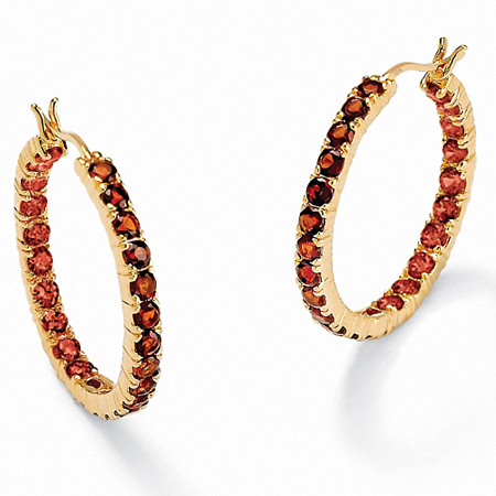 6.24 TCW Genuine Round Garnet Inside-Out Hoop Earrings in 18k Gold over .925 Sterling Silver (1 1/4