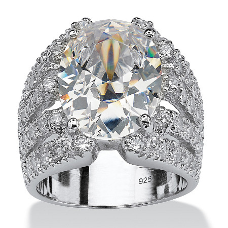 10.82 TCW Oval-Cut Cubic Zirconia Sterling Silver Sparkler Engagement/Anniversary Ring at PalmBeach Jewelry