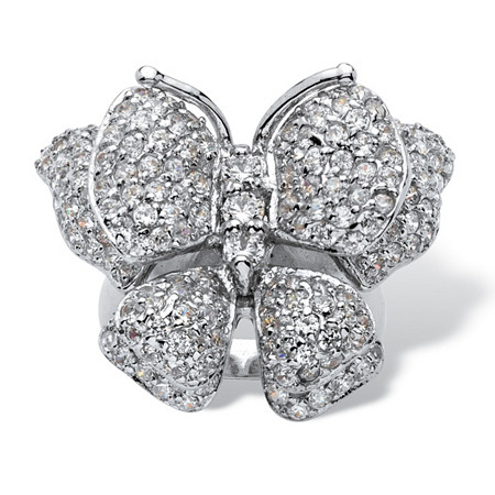 4.50 TCW Round Cubic Zirconia Sterling Silver Butterfly Ring at PalmBeach Jewelry