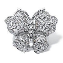 4.50 TCW Round Cubic Zirconia Sterling Silver Butterfly Ring