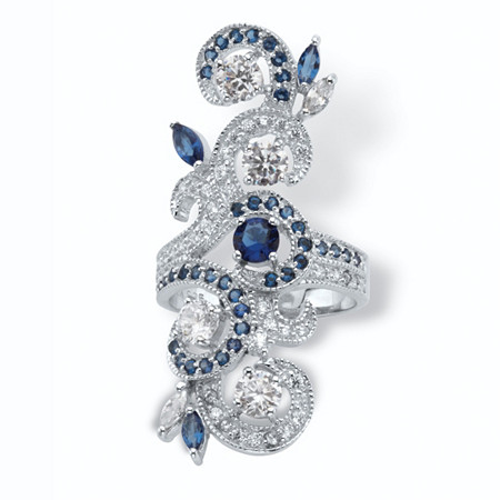 1.68 TCW Round Cubic Zirconia and Marquise-Cut Simulated Blue Sapphire Elongated Vine Ring in Sterling Silver at PalmBeach Jewelry