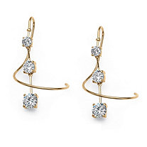 3.30 TCW Cubic Zirconia Spiral Drop Earrings in 14k Gold over Sterling Silver