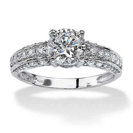 1.80 TCW Round Cubic Zirconia Engagement Anniversary Ring in 10k White Gold at PalmBeach Jewelry