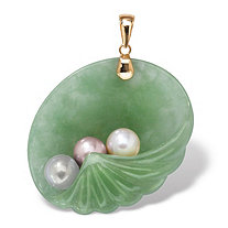 Genuine Green Jade and Freshwater Cultured Pearl 14k Yellow Gold Shell Pendant