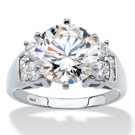 4.66 TCW Round Cubic Zirconia Engagement Anniversary Ring in Solid 10k White Gold at PalmBeach Jewelry