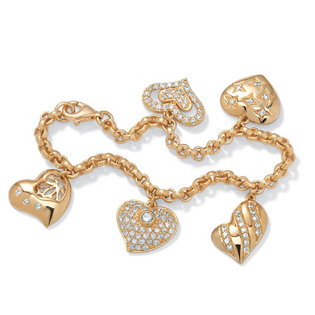1.48 TCW Cubic Zirconia Heart Charm Bracelet in Yellow Gold Tone at Direct Charge presents PalmBeach