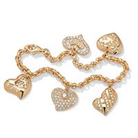 Cubic Zirconia Heart Charm Bracelet ONLY $16.99
