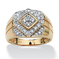 SETA JEWELRY Men's 1/4 TCW Round Diamond Geometric Ring in 10k Gold