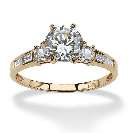 2.14 TCW Round Cubic Zirconia Engagement Anniversary Ring in Solid 10k Gold at PalmBeach Jewelry