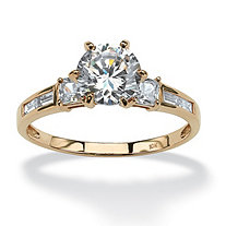 2.14 TCW Round Cubic Zirconia Engagement Anniversary Ring in Solid 10k Gold