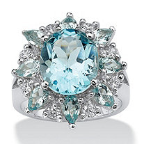 SETA JEWELRY 8.60 TCW Oval-Cut Genuine Blue and White Topaz Ring in .925 Sterling Silver