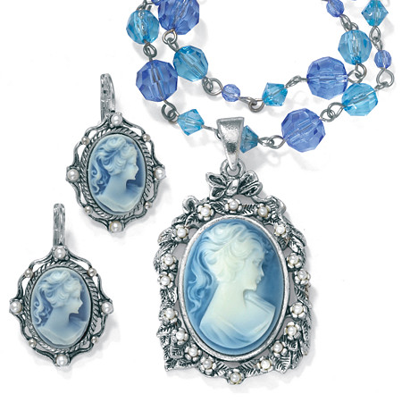 Simulated Pearl and Lucite Cameo Two-Piece Necklace and Earrings Set in Antiqued Silvertone at PalmBeach Jewelry