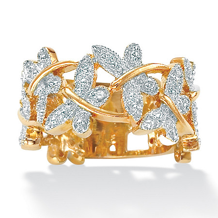 Diamond Accent Butterfly Band in 18k Gold over Sterling Silver at PalmBeach Jewelry