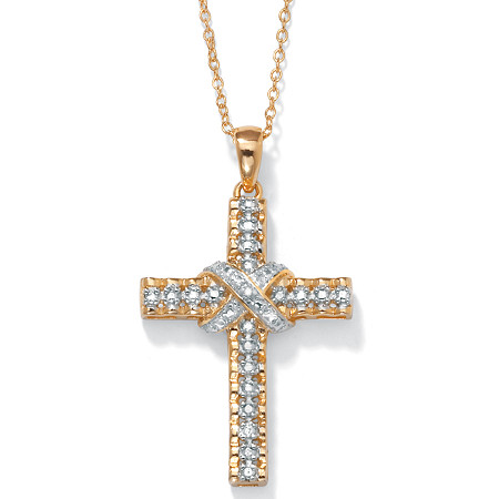 "Diamond Accent 18k Yellow Gold over Sterling Silver Religious Cross Pendant Necklace 18"" at PalmBeach Jewelry"