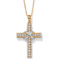Diamond Accent 18k Yellow Gold over Sterling Silver Religious Cross Pendant Necklace 18""