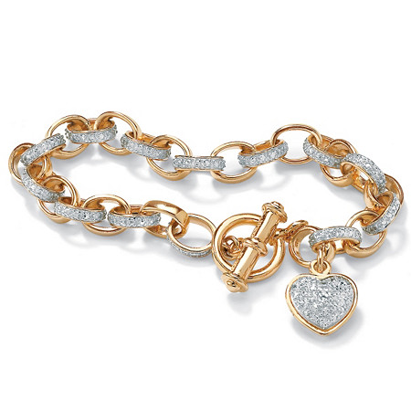 """Diamond Accent Heart Charm Bracelet in 18k Gold over Sterling Silver 7.25"""" at PalmBeach Jewelry"""