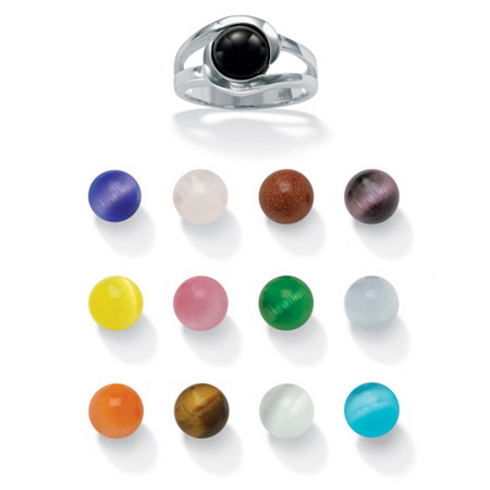 14-Piece Interchangeable Ring Set with Genuine and Simulated Stones in .925 Sterling Silver at PalmBeach Jewelry