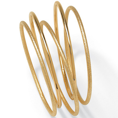 """Textured and Polished 5-Piece Bangle Bracelet Set in Goldtone 9"""" at PalmBeach Jewelry"""