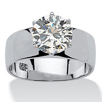 4 TCW Round Cubic Zirconia Sterling Silver Solitaire Bridal Engagement Ring