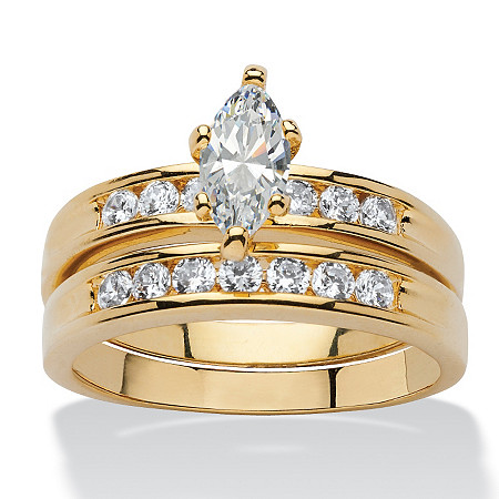 1.78 TCW Marquise-Cut Cubic Zirconia Two-Piece Bridal Ring Set Set 14k Gold-Plated at PalmBeach Jewelry