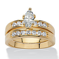 1.78 TCW Marquise-Cut Cubic Zirconia Two-Piece Bridal Ring Set Set 14k Gold-Plated