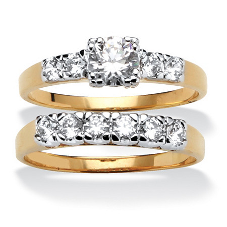 2.15 TCW Round Cubic Zirconia 14k Yellow Gold-Plated Two-Piece Bridal Engagement Set at PalmBeach Jewelry