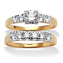 SETA JEWELRY 2.15 TCW Round Cubic Zirconia 14k Yellow Gold-Plated Two-Piece Bridal Engagement Set