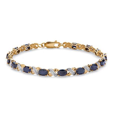 "8.40 TCW Oval-Cut Genuine Blue Sapphire ""X & O"" Tennis Bracelet 7 1/2"" in 10k Yellow Gold at PalmBeach Jewelry"