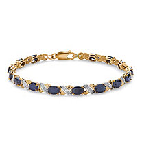 "8.40 TCW Oval-Cut Genuine Blue Sapphire ""X & O"" Tennis Bracelet 7 1/2"" in 10k Yellow Gold"