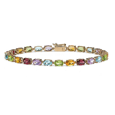 11.89 TCW Oval-Cut Genuine Multi-Gemstones 10k Yellow Gold Tennis Bracelet 7 1/4