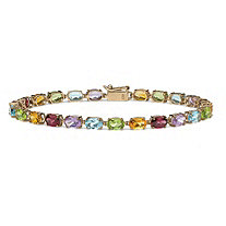 SETA JEWELRY 11.89 TCW Oval-Cut Genuine Multi-Gemstones 10k Yellow Gold Tennis Bracelet 7 1/4