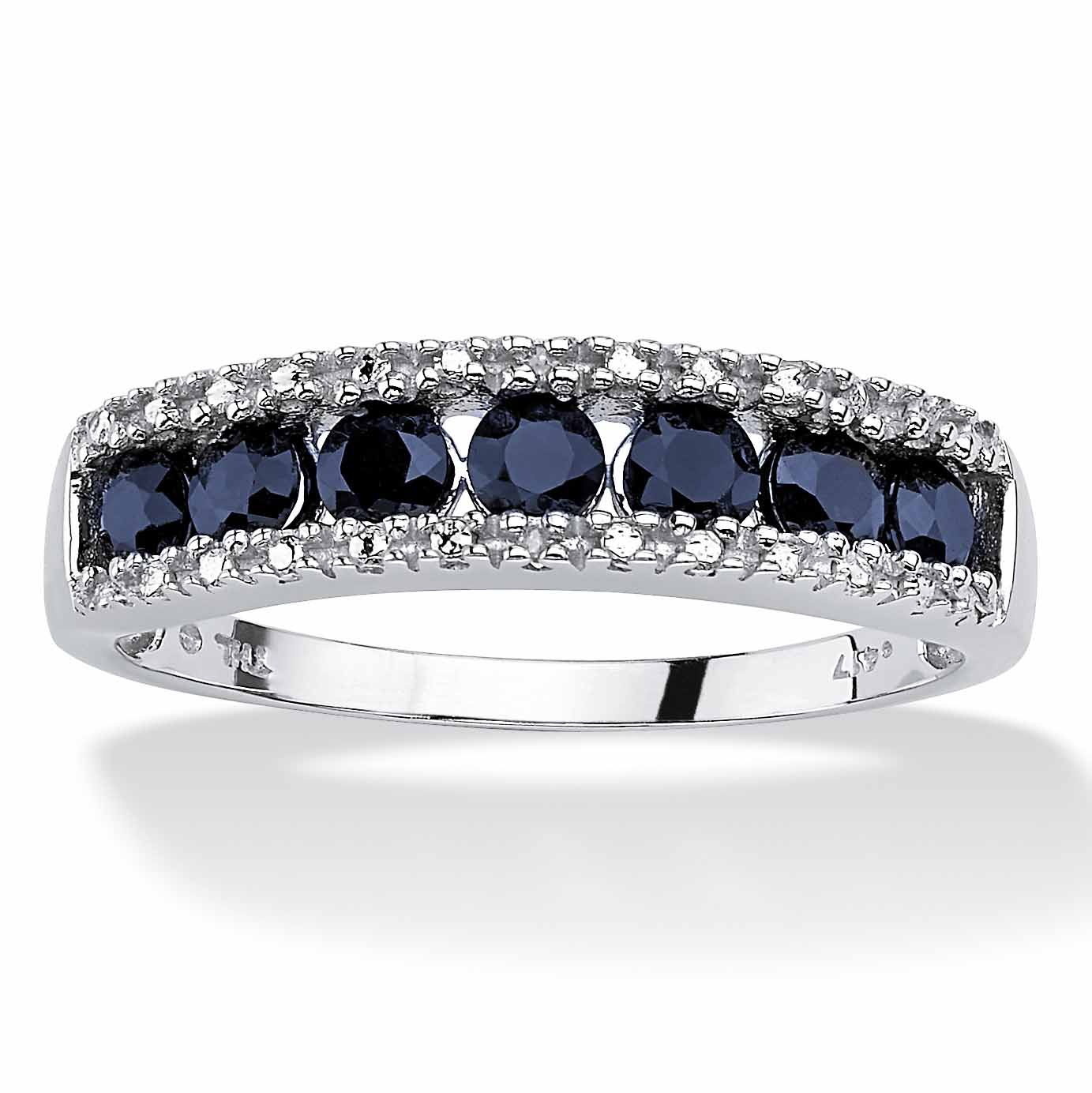 ac7ce7ef7 1.05 TCW Round Genuine Blue Sapphire and Diamond Accent 10k White Gold Ring  at PalmBeach Jewelry