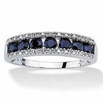 SETA JEWELRY 1.05 TCW Round Genuine Blue Sapphire and Diamond Accent 10k White Gold Ring