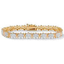 SETA JEWELRY 1/4 TCW Round Diamond Flower Tennis Bracelet in 18k Gold over Sterling Silver