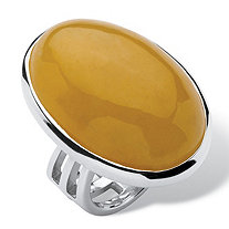Genuine Yellow Jade .925 Sterling Silver Oval Cabochon Cocktail Ring