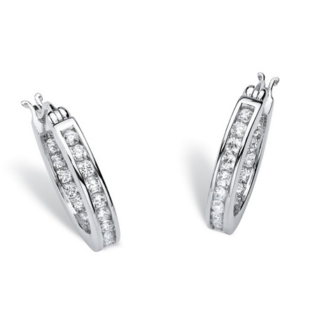 1.25 TCW Round Cubic Zirconia Platinum over Sterling Silver Channel-Set Hoop Earrings at PalmBeach Jewelry