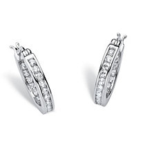 "1.25 TCW Round Cubic Zirconia Platinum over Sterling Silver Channel-Set Hoop Earrings (3/4"")"