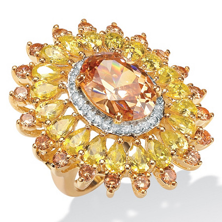 19.48 TCW Oval-Cut Champagne, Canary Yellow and White Cubic Zirconia 14k Yellow Gold-Plated Ring at PalmBeach Jewelry