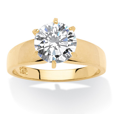 3 TCW Round Cubic Zirconia 18k Gold over Sterling Silver Solitaire Bridal Engagement Ring at PalmBeach Jewelry